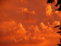Sunset, Red, Sky, Clouds, Orange Stock Image
