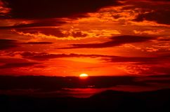 Sunset, Red, Sky, Fiery, Orange Royalty Free Stock Image