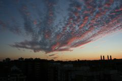 Sunset with red sky in Madrid stock image