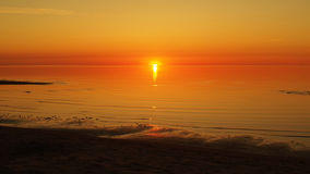 Sunset and red sky over sea Royalty Free Stock Photos