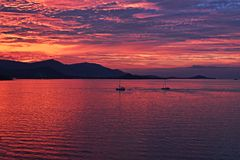 Sunset with red sky in koh Samui, Thailand. stock photos