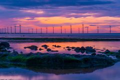 Redcar Sunset and wind power stock images