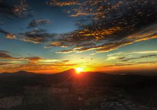 Sunset Redsky and Mountains. Aerialphotography of Sunset at Rayong Province , Thailand royalty free stock photos