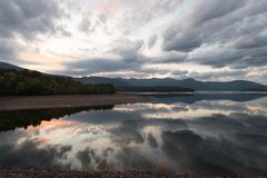 Sunset reflected on the Ashokan Reservoir. Royalty Free Stock Photos