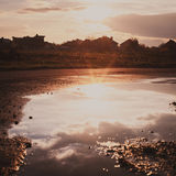 The sunset reflected Royalty Free Stock Photos
