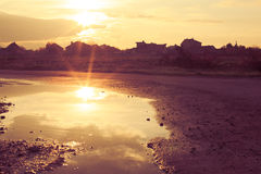 The sunset reflected Stock Photography