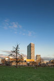 Sunset reflected on the Kista Tower Apartment Stock Photos