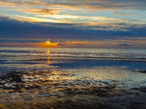 Sunset reflected onsands. royalty free stock images