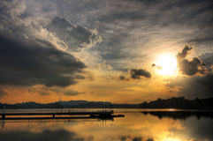 Sunset reflected in a still reservoir Stock Photos