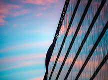 Sunset reflection in building. Budapest, Europe, Royalty Free Stock Photo