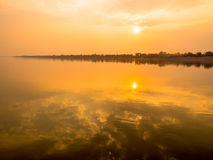 Sunset and reflection with cloud Royalty Free Stock Photo