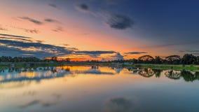 Sunset reflection. Greenhouse, La Nina,nwater Reflections Stock Photo