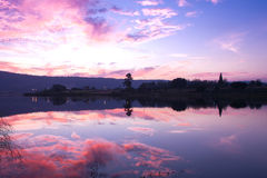 Sunset reflection in the lake Stock Photography