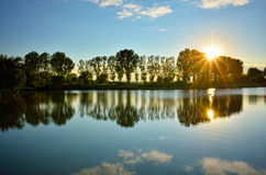 Sunset reflection on the lake Royalty Free Stock Images