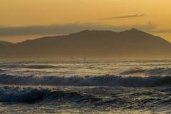 Sunset at Arrietara beach Royalty Free Stock Image