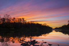 Sunset Reflection on Raritan River Royalty Free Stock Photos