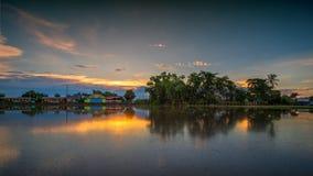 Sunset reflection. Sunset sky reflection pool Stock Images