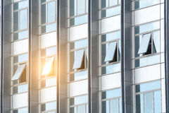 Sunset reflection in a skyscraper`s windows Royalty Free Stock Images