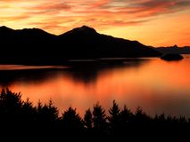 Sunset Reflection. Spectacular sunset view with reflection on a lake in Patagonia stock photography