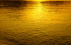 Sunset reflection in water gold lite Stock Images