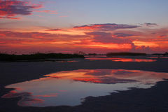 Sunset reflections. At Treasure Island in Florida royalty free stock photography