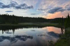 Sunset reflections. At camping in norway Royalty Free Stock Photos