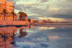 Sunset with reflections in Can Pastilla, Mallorca, Spain Royalty Free Stock Photography