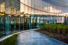 Sunset reflections in glass at Revel Hotel Casino, in Atlantic C Royalty Free Stock Photos