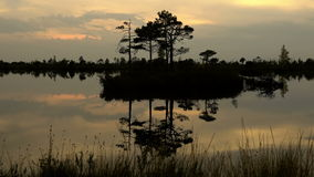Sunset reflections in the islands lake. Autumn daytime. Smooth dolly shot.  stock footage