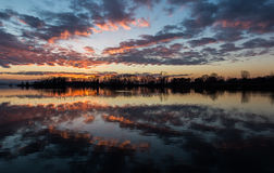 Sunset reflections on lake Royalty Free Stock Photo