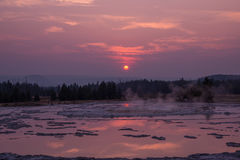 Sunset Reflections over Great Fountain Geyser Stock Photos