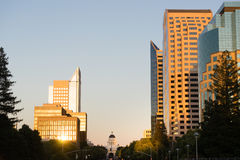 Sunset Reflects Off Buildings Downtown Sacramento California Cap Stock Photo
