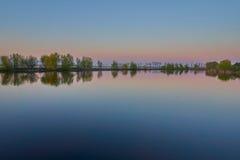 Sunset reflexions at Comana lake Stock Image