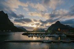 Sunset on Reine harbor in Lofoten Islands, Norway, Europe Stock Photos