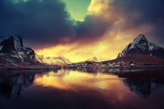 Sunset at Reine, Lofoten islands Stock Images