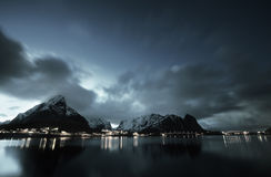 Sunset at Reine, Lofoten islands Stock Photo