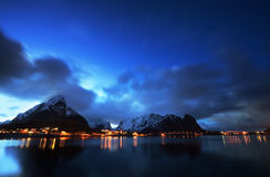 Sunset at Reine, Lofoten islands Royalty Free Stock Images