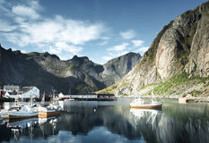 Sunset - Reine, Lofoten islands, Norway Stock Photography