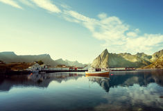 Sunset - Reine, Lofoten islands, Norway Royalty Free Stock Photography