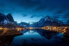 Sunset  in Reine Village, Lofoten Islands Stock Photography