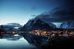Sunset  in Reine Village, Lofoten Islands, Norway Royalty Free Stock Photos