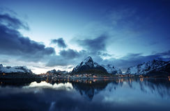 Sunset  in Reine Village, Lofoten Islands, Norway Stock Photography