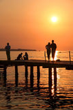 Sunset relaxing. People relaxing by the sunset. Slovenia Stock Photo