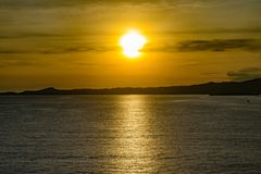 Sunset on a relaxing evening in Honduras royalty free stock images