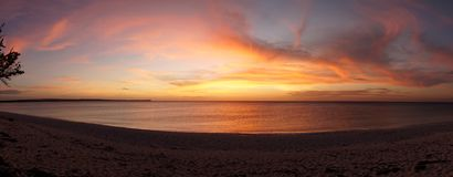 Sunset at the remote Bahia de las Aguilas Beach in the Dominican Republic, Caribbean. royalty free stock photos