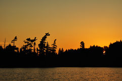 Sunset on a Remote Wilderness Lake. With Silhouette of Pine Trees Stock Photos
