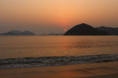 Sunset at repulse bay, Hong Kong. Sunset on sea (bay and cape in the distance Stock Photos