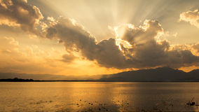 Sunset. Reservoir in Thailand. It is a very beautiful golden light Royalty Free Stock Images
