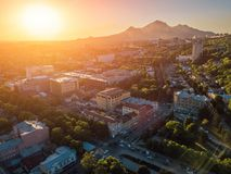 Sunset in resort city Pyatigorsk, aerial view from drone stock image