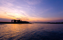 Sunset at Rhine near Cologne Stock Image